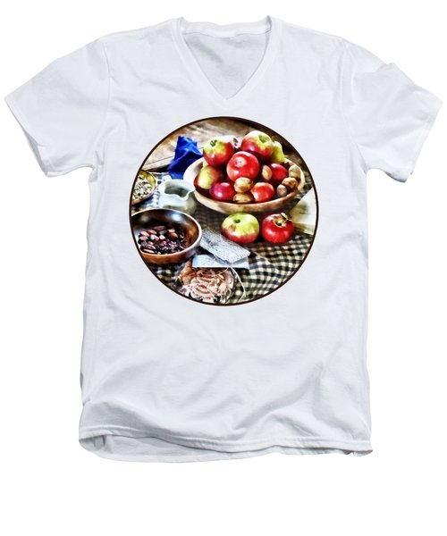 Apples And Nuts Men's V-Neck T-Shirt by Susan Savad