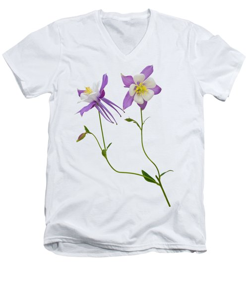 Men's V-Neck T-Shirt featuring the photograph Aquilegia Specimen by Jane McIlroy