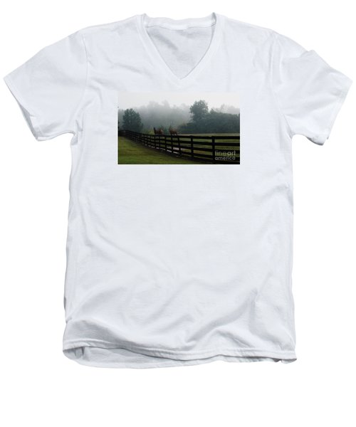 Arabian Horse Landscape Men's V-Neck T-Shirt by Debra Crank