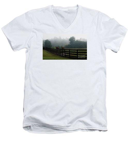 Men's V-Neck T-Shirt featuring the painting Arabian Horse Landscape by Debra Crank