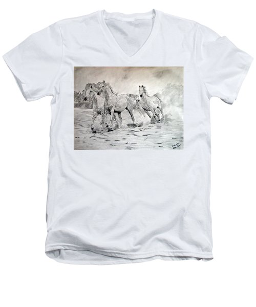 Men's V-Neck T-Shirt featuring the drawing Arabian Horses by Melita Safran