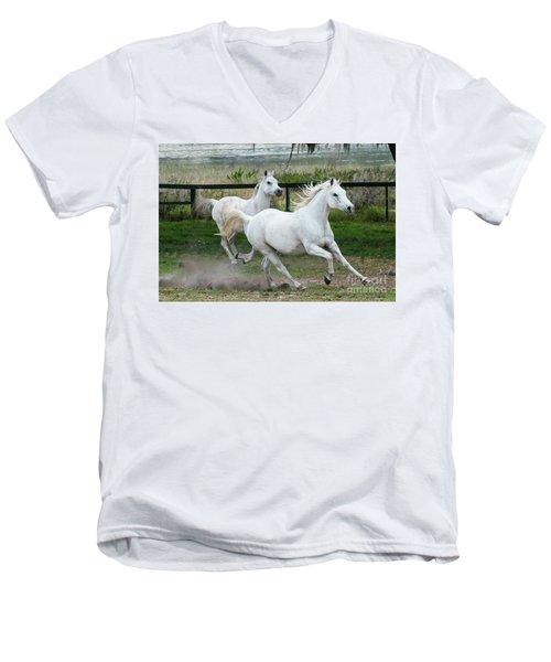 Arabian Horses Running Men's V-Neck T-Shirt