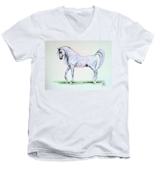 Arabian Stallion  Men's V-Neck T-Shirt by Cheryl Poland