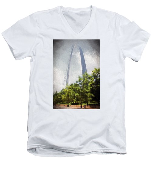 Arch And Clouds Men's V-Neck T-Shirt by John Freidenberg