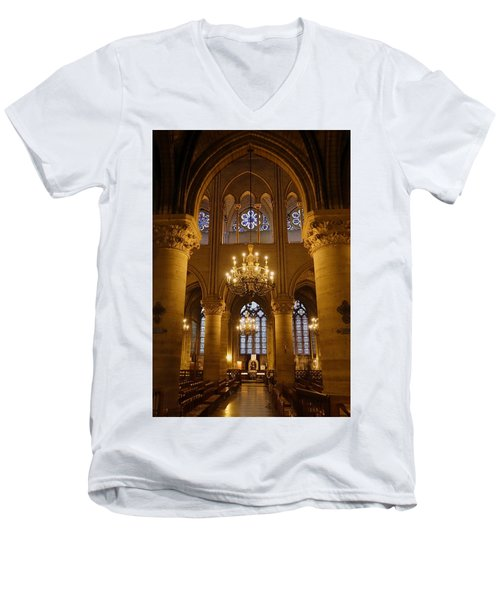 Architectural Artwork Within Notre Dame In Paris France Men's V-Neck T-Shirt