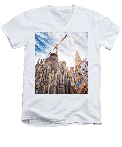 Architectural Details Of The Sagrada Familia In Barcelona Men's V-Neck T-Shirt
