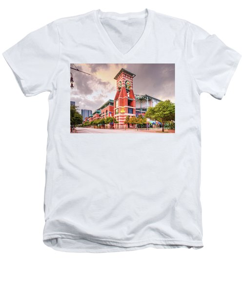 Architectural Photograph Of Minute Maid Park Home Of The Astros - Downtown Houston Texas Men's V-Neck T-Shirt