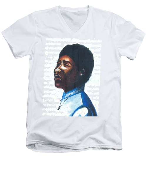 Men's V-Neck T-Shirt featuring the painting Aretha Franklin by Emmanuel Baliyanga