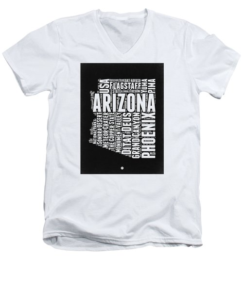 Arizona Black And White Word Cloud Map Men's V-Neck T-Shirt