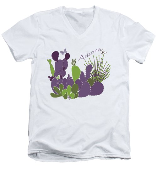 Men's V-Neck T-Shirt featuring the digital art Arizona Cacti by Methune Hively