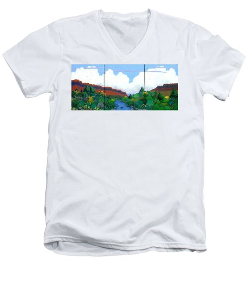 Men's V-Neck T-Shirt featuring the painting Arizona Sky by Bernard Goodman