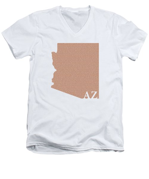 Arizona State Map With Text Of Constitution Men's V-Neck T-Shirt