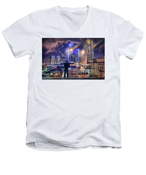 Men's V-Neck T-Shirt featuring the photograph Armageddon Detroit by Nicholas Grunas