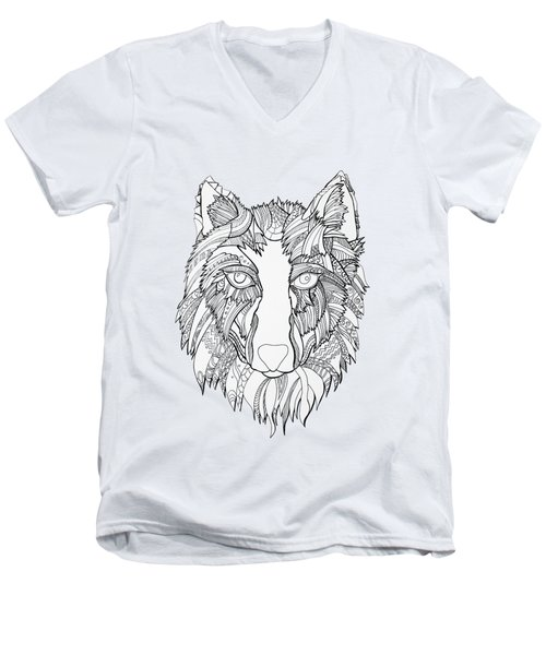 Arnou The Wolf Men's V-Neck T-Shirt by Chikkas By Fran Galea