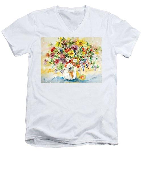 Arrangement IIi Men's V-Neck T-Shirt by Alexandra Maria Ethlyn Cheshire