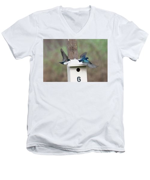 Arrival And Departure Men's V-Neck T-Shirt by Gary Wightman