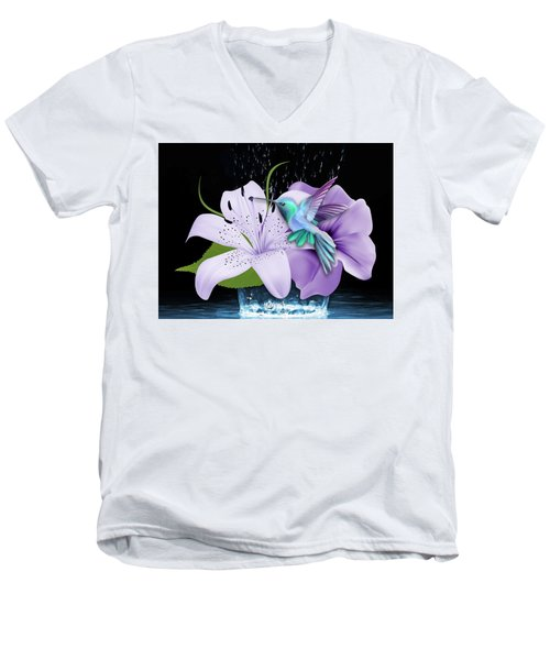 Men's V-Neck T-Shirt featuring the mixed media Arrival Hummingbird by Marvin Blaine
