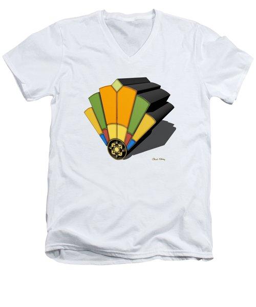 Art Deco Fan 8 3 D Men's V-Neck T-Shirt