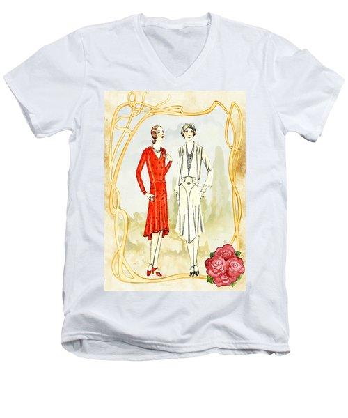 Art Deco Fashion Girls Men's V-Neck T-Shirt