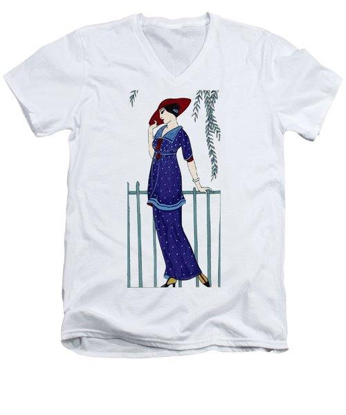 Art Deco Fashion Polka Dots Men's V-Neck T-Shirt