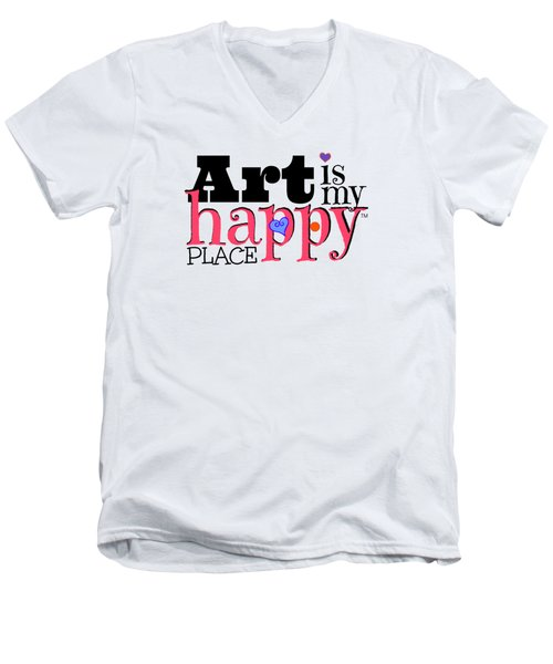 Art Is My Happy Place Men's V-Neck T-Shirt by Shelley Overton