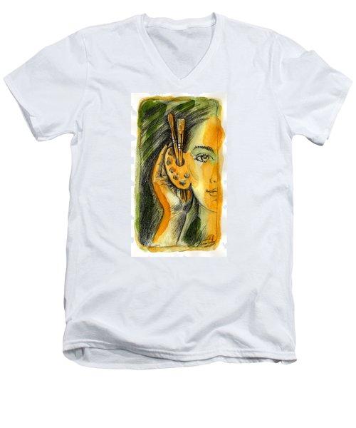 Art Of Listening Men's V-Neck T-Shirt by Leon Zernitsky
