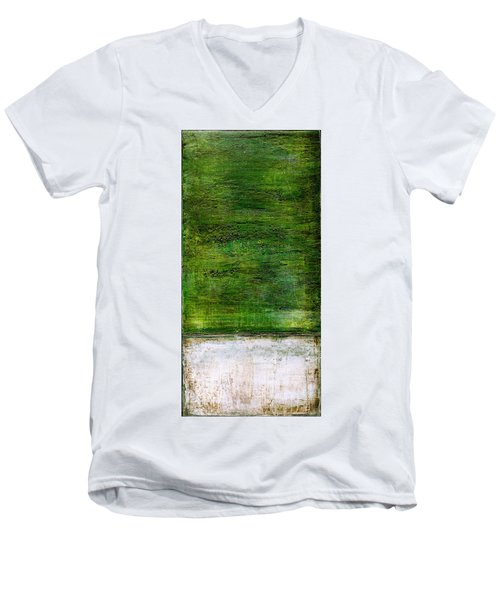 Art Print Green White Men's V-Neck T-Shirt