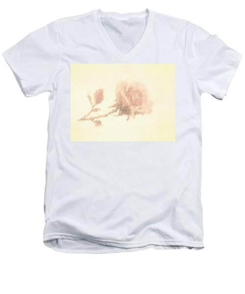 Men's V-Neck T-Shirt featuring the photograph Artistic Etched Rose by Linda Phelps