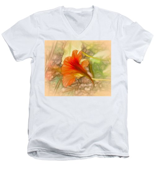 Artistic Red And Orange Men's V-Neck T-Shirt