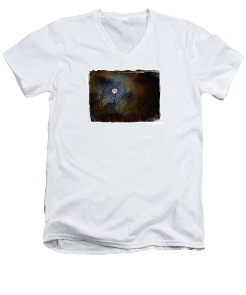 Men's V-Neck T-Shirt featuring the photograph Artsy Moon by Lila Fisher-Wenzel