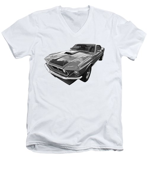 428 Cobra Jet Mach1 Ford Mustang 1969 In Black And White Men's V-Neck T-Shirt by Gill Billington