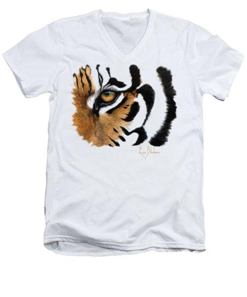 Tiger Eye Men's V-Neck T-Shirt by Lucie Bilodeau