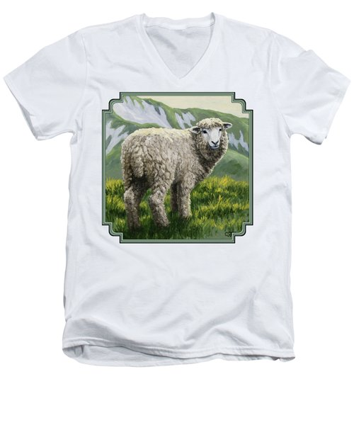 Highland Ewe Men's V-Neck T-Shirt by Crista Forest