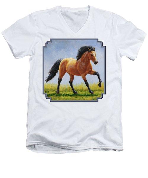 Buckskin Horse - Morning Run Men's V-Neck T-Shirt