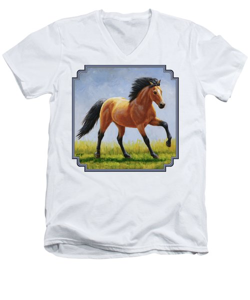 Buckskin Horse - Morning Run Men's V-Neck T-Shirt