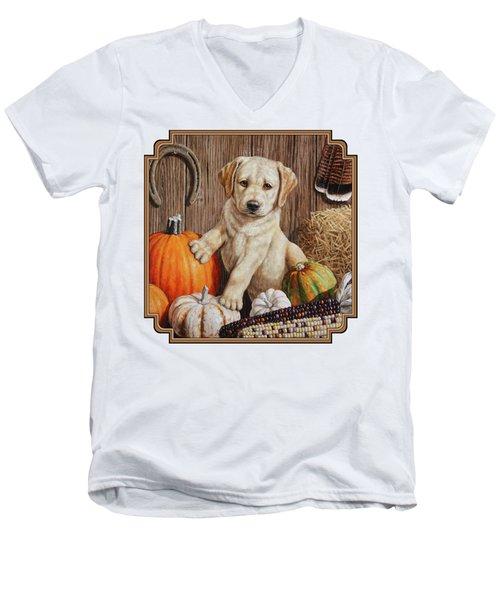 Pumpkin Puppy Men's V-Neck T-Shirt