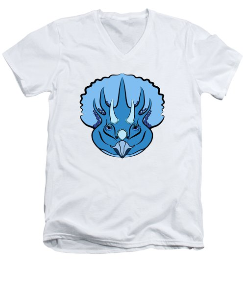Triceratops Graphic Blue Men's V-Neck T-Shirt by MM Anderson