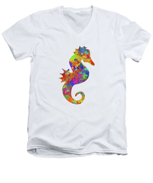 Seahorse Watercolor Art Men's V-Neck T-Shirt by Christina Rollo