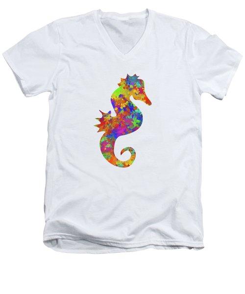 Seahorse Watercolor Art Men's V-Neck T-Shirt by Christina Rollo