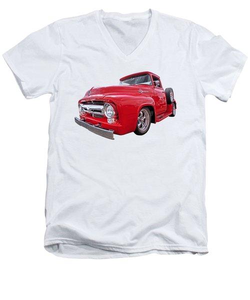 Red F-100 Men's V-Neck T-Shirt