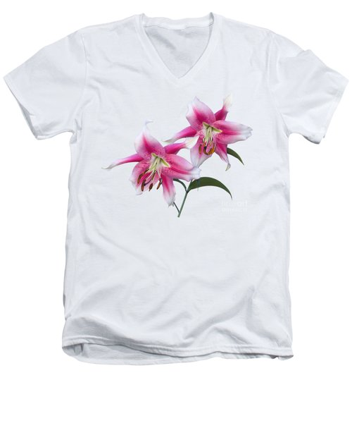 Men's V-Neck T-Shirt featuring the photograph Pink And White Ot Lilies by Jane McIlroy
