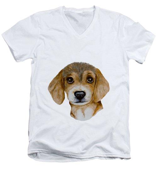 Beagle Puppy Men's V-Neck T-Shirt by John Stuart Webbstock