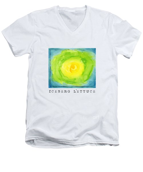Abstract Iceberg Lettuce Men's V-Neck T-Shirt by Kathleen Wong