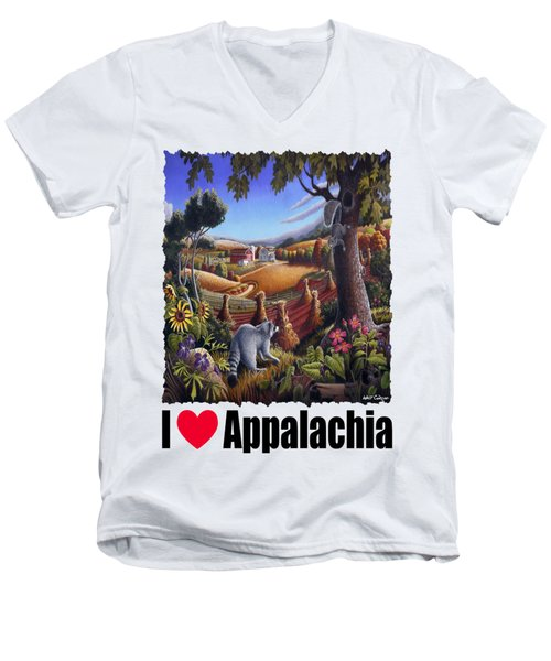 I Love Appalachia - Coon Gap Holler Country Farm Landscape 1 Men's V-Neck T-Shirt by Walt Curlee