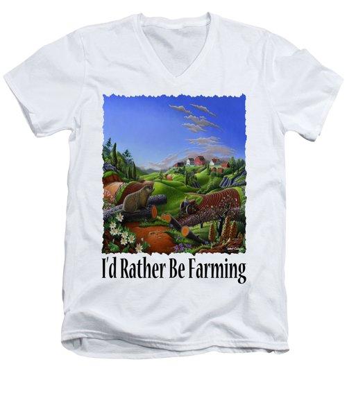 Id Rather Be Farming - Springtime Groundhog Farm Landscape 1 Men's V-Neck T-Shirt by Walt Curlee