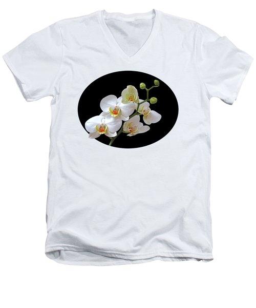 Orchids On Black And Gold Men's V-Neck T-Shirt by Gill Billington