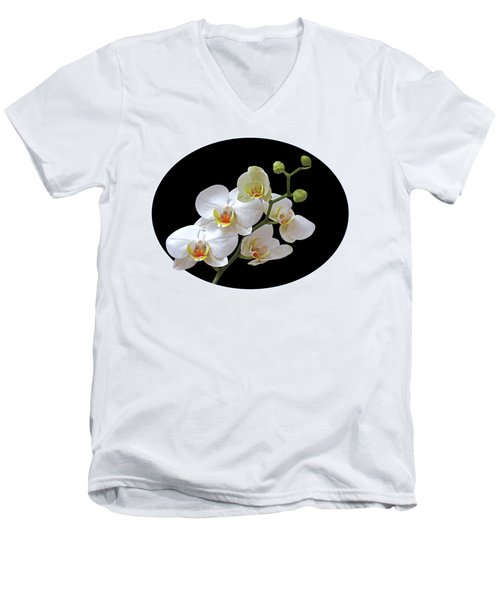 Orchids On Black And Gold Men's V-Neck T-Shirt