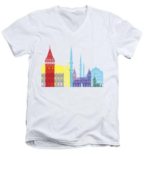 Istanbul Skyline Pop Men's V-Neck T-Shirt by Pablo Romero