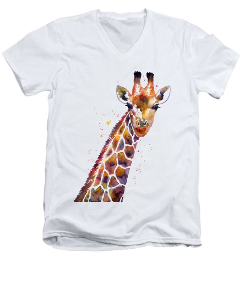 Giraffe Men's V-Neck T-Shirt by Hailey E Herrera
