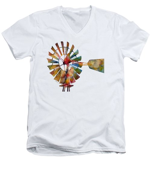 Windmill Men's V-Neck T-Shirt by Hailey E Herrera